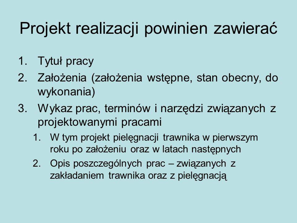 Projekt realizacji powinien zawierać 1.Tytuł pracy 2.Założenia (założenia wstępne, stan obecny, do wykonania) 3.Wykaz prac, terminów i narzędzi związa