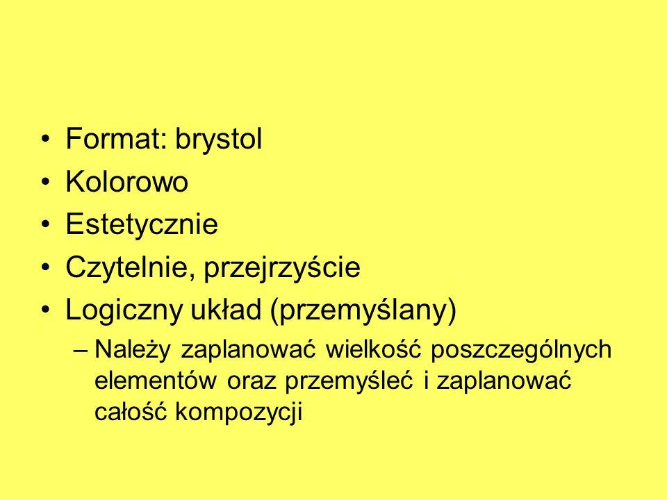 Format: brystol Kolorowo Estetycznie Czytelnie, przejrzyście Logiczny układ (przemyślany) –Należy zaplanować wielkość poszczególnych elementów oraz pr