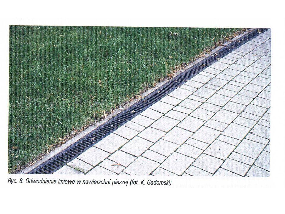 NAWIERZCHNIE SPADKI PODŁUŻNE System odwodnienia punktowego i liniowego muszą być połączone do sieci odbioru wody –Przyłączenie do miejskiego systemu odprowadzania wód opadowych –Przyłączenie do kanalizacji ściekowej – w przypadku miejsc takich jak np.