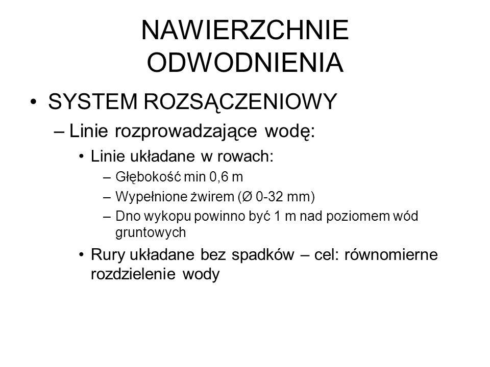 NAWIERZCHNIE ODWODNIENIA SYSTEM ROZSĄCZENIOWY –Linie rozprowadzające wodę: Linie układane w rowach: –Głębokość min 0,6 m –Wypełnione żwirem (Ø 0-32 mm