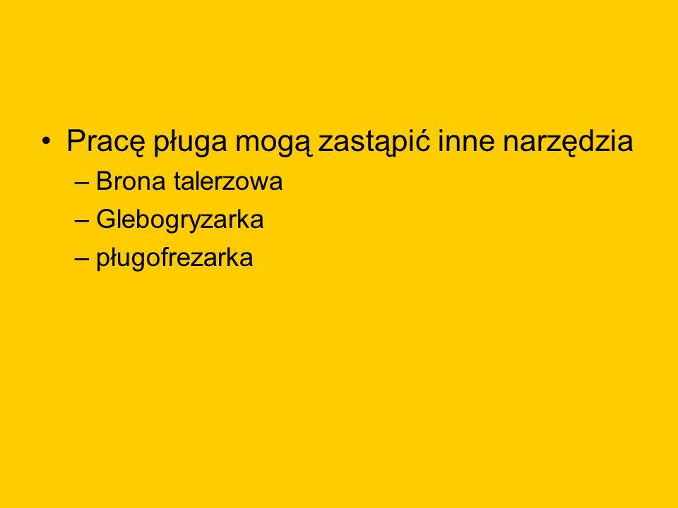 Pracę pługa mogą zastąpić inne narzędzia –Brona talerzowa –Glebogryzarka –pługofrezarka