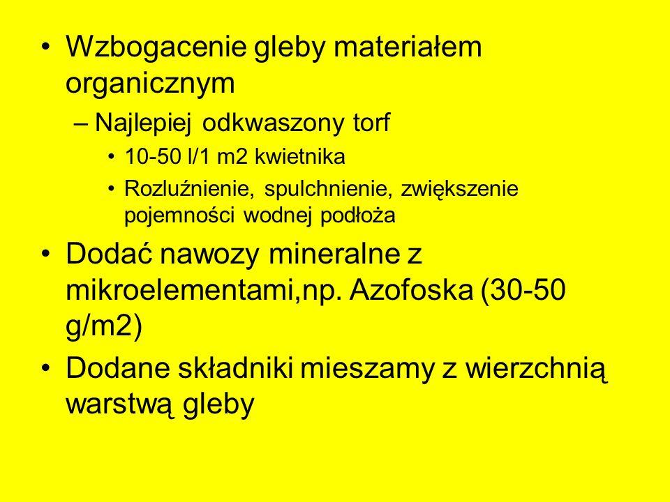 Wzbogacenie gleby materiałem organicznym –Najlepiej odkwaszony torf 10-50 l/1 m2 kwietnika Rozluźnienie, spulchnienie, zwiększenie pojemności wodnej p