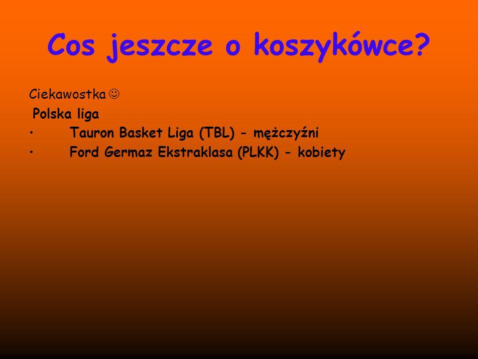 Cos jeszcze o koszykówce? Ciekawostka Polska liga Tauron Basket Liga (TBL) - mężczyźni Ford Germaz Ekstraklasa (PLKK) - kobiety