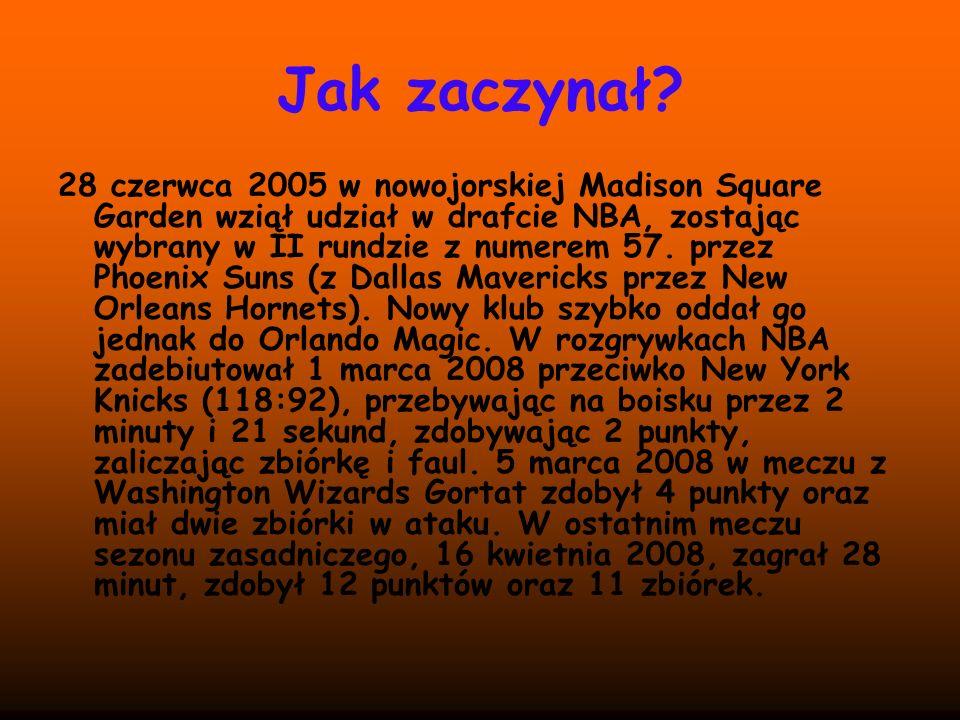 Jak zaczynał? 28 czerwca 2005 w nowojorskiej Madison Square Garden wziął udział w drafcie NBA, zostając wybrany w II rundzie z numerem 57. przez Phoen