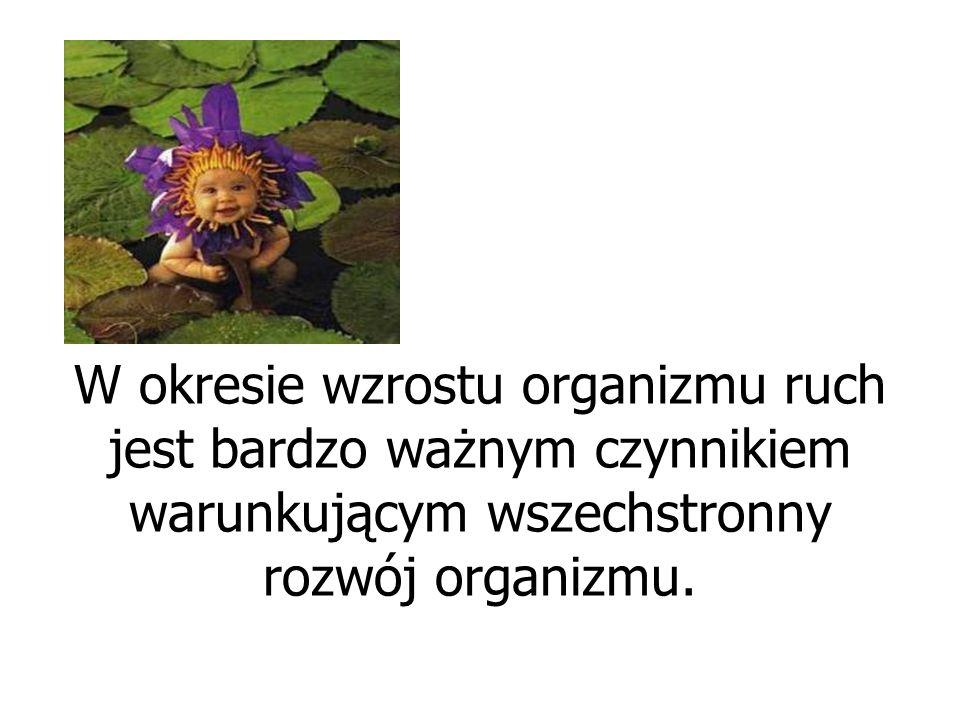 W okresie wzrostu organizmu ruch jest bardzo ważnym czynnikiem warunkującym wszechstronny rozwój organizmu.