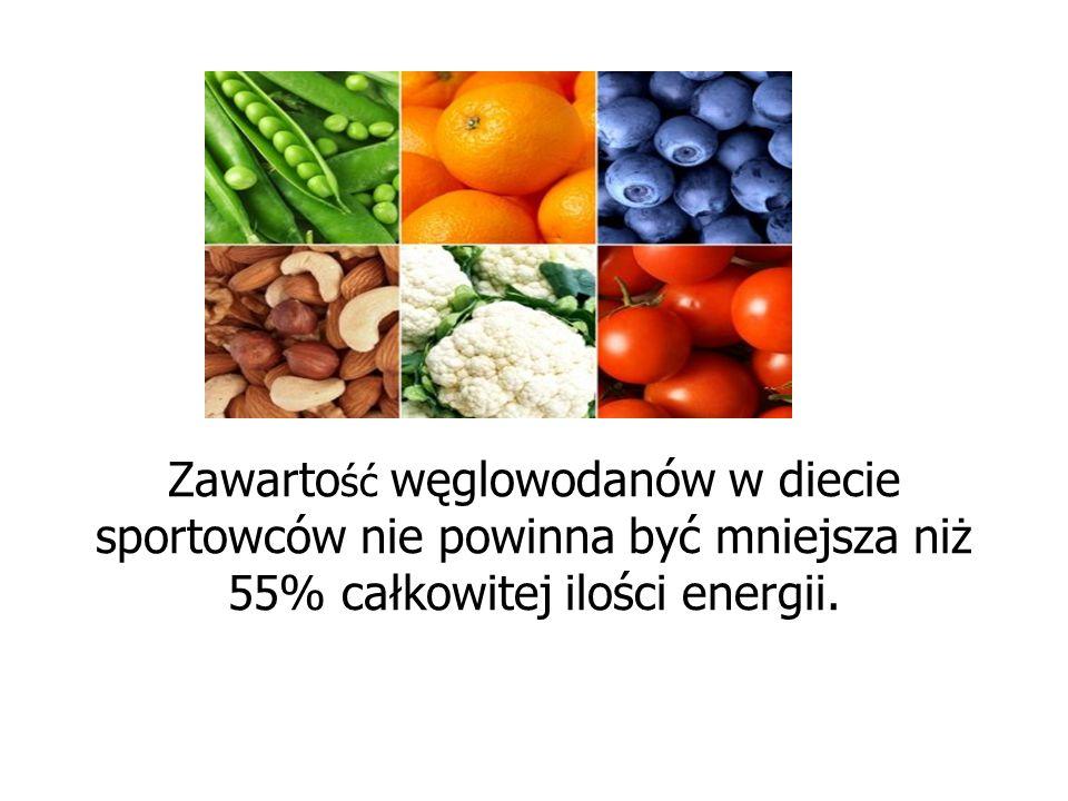 Zawarto ść węglowodanów w diecie sportowców nie powinna być mniejsza niż 55% całkowitej ilości energii.