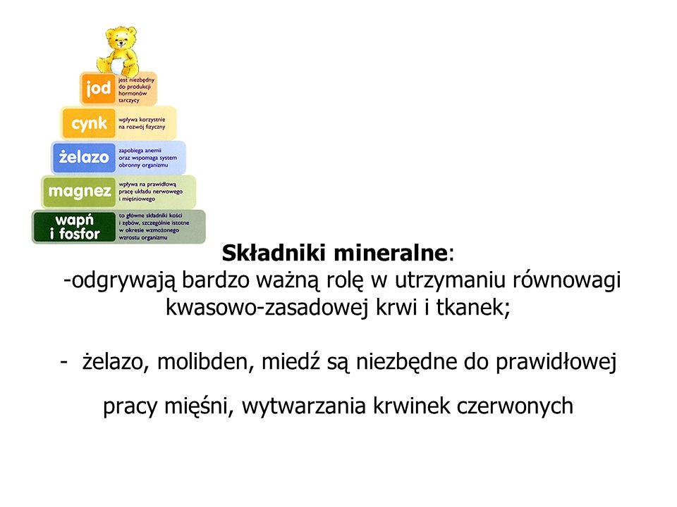 Składniki mineralne: -odgrywają bardzo ważną rolę w utrzymaniu równowagi kwasowo-zasadowej krwi i tkanek; - żelazo, molibden, miedź są niezbędne do pr