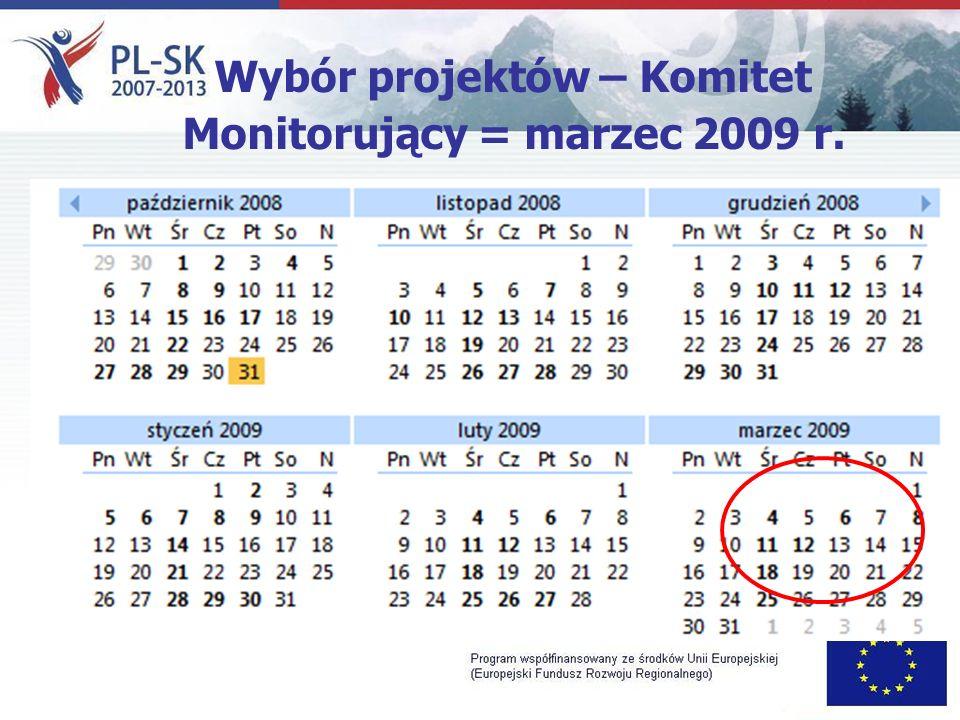 Wybór projektów – Komitet Monitorujący = marzec 2009 r.