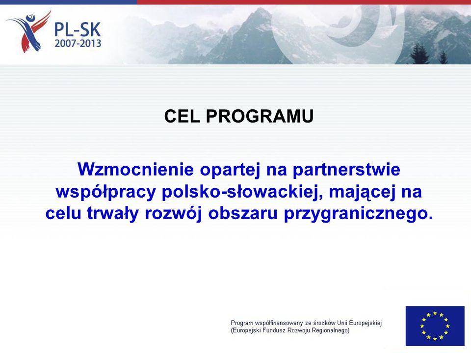 CEL PROGRAMU Wzmocnienie opartej na partnerstwie współpracy polsko-słowackiej, mającej na celu trwały rozwój obszaru przygranicznego.