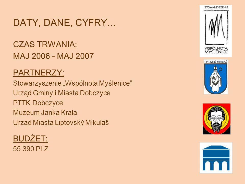DATY, DANE, CYFRY… CZAS TRWANIA: MAJ 2006 - MAJ 2007 PARTNERZY: Stowarzyszenie Wspólnota Myślenice Urząd Gminy i Miasta Dobczyce PTTK Dobczyce Muzeum