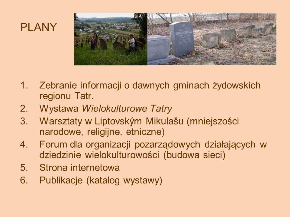 PLANY 1.Zebranie informacji o dawnych gminach żydowskich regionu Tatr.