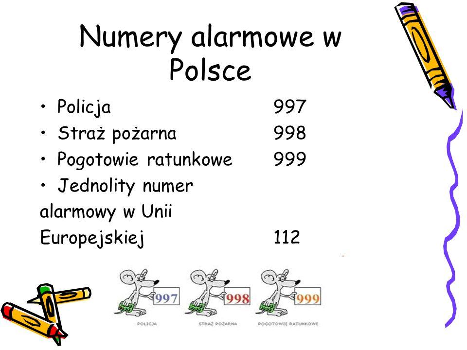 Numery alarmowe w Polsce Policja997 Straż pożarna998 Pogotowie ratunkowe999 Jednolity numer alarmowy w Unii Europejskiej112