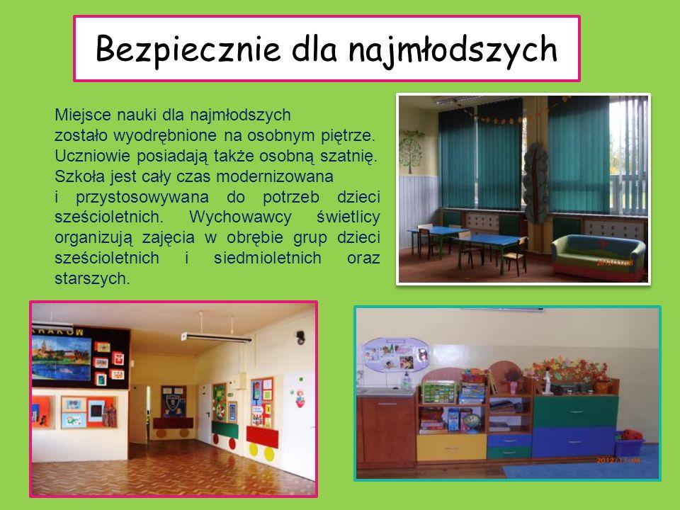 Bezpiecznie dla najmłodszych Miejsce nauki dla najmłodszych zostało wyodrębnione na osobnym piętrze. Uczniowie posiadają także osobną szatnię. Szkoła