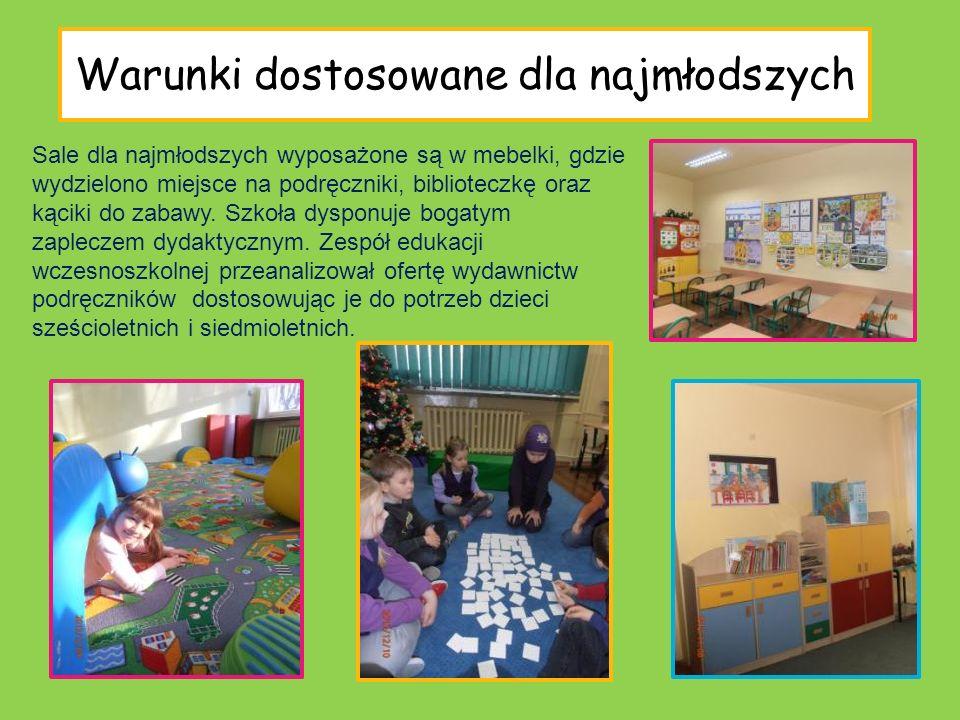 Warunki dostosowane dla najmłodszych Sale dla najmłodszych wyposażone są w mebelki, gdzie wydzielono miejsce na podręczniki, biblioteczkę oraz kąciki