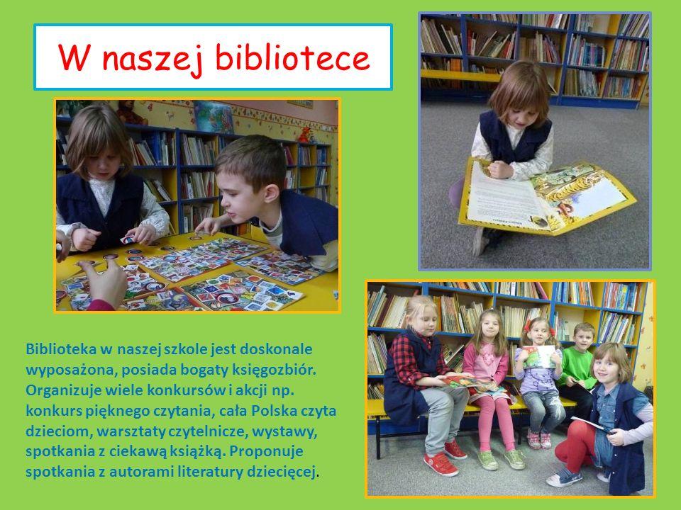 W naszej bibliotece Biblioteka w naszej szkole jest doskonale wyposażona, posiada bogaty księgozbiór. Organizuje wiele konkursów i akcji np. konkurs p