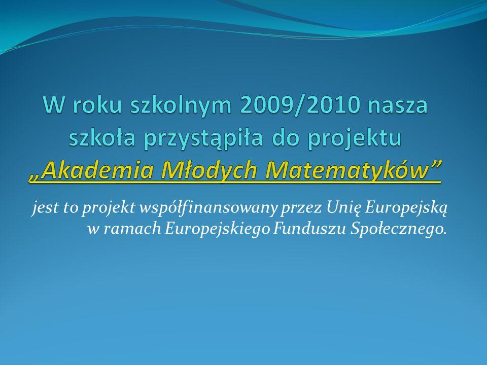 jest to projekt współfinansowany przez Unię Europejską w ramach Europejskiego Funduszu Społecznego.