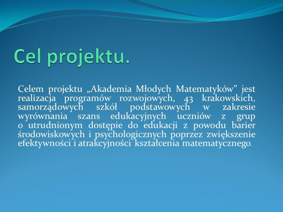 Celem projektu Akademia Młodych Matematyków jest realizacja programów rozwojowych, 43 krakowskich, samorządowych szkół podstawowych w zakresie wyrównania szans edukacyjnych uczniów z grup o utrudnionym dostępie do edukacji z powodu barier środowiskowych i psychologicznych poprzez zwiększenie efektywności i atrakcyjności kształcenia matematycznego.