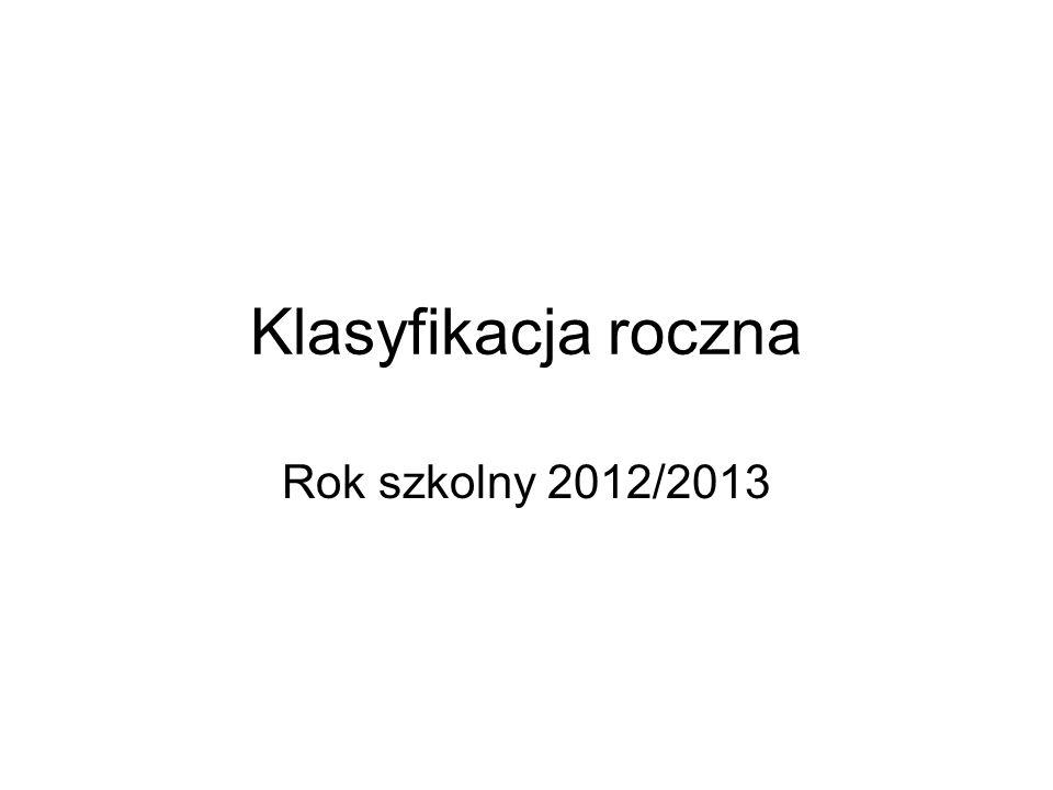 Klasyfikacja roczna Rok szkolny 2012/2013
