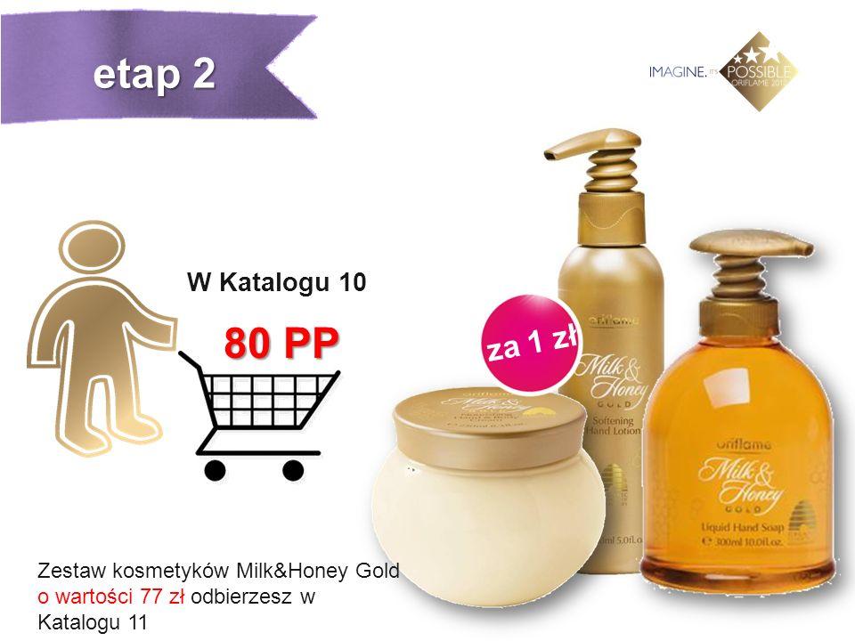 za 1 zł W Katalogu 10 80 PP Zestaw kosmetyków Milk&Honey Gold o wartości 77 zł odbierzesz w Katalogu 11 etap 2