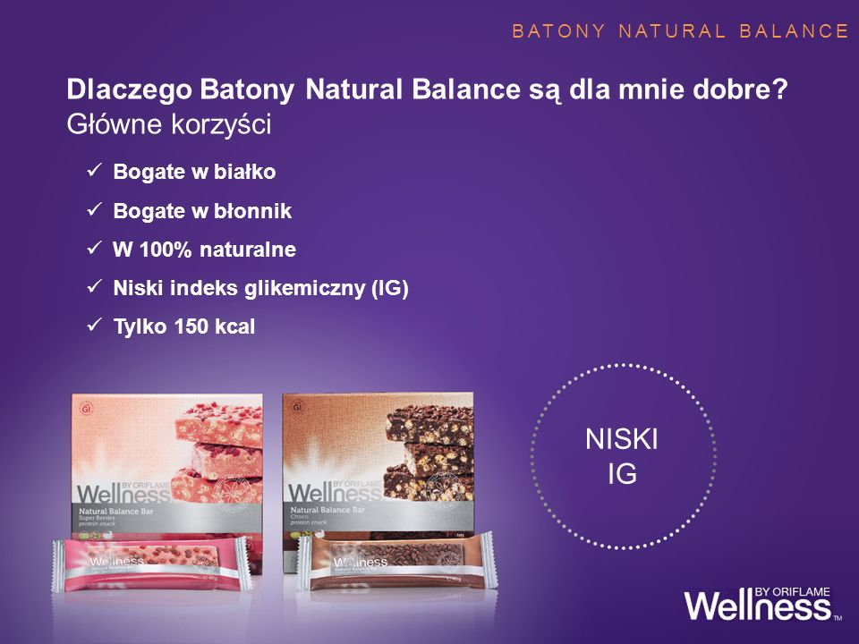 BATONY NATURAL BALANCE Bogate w białko Bogate w błonnik W 100% naturalne Niski indeks glikemiczny (IG) Tylko 150 kcal Dlaczego Batony Natural Balance
