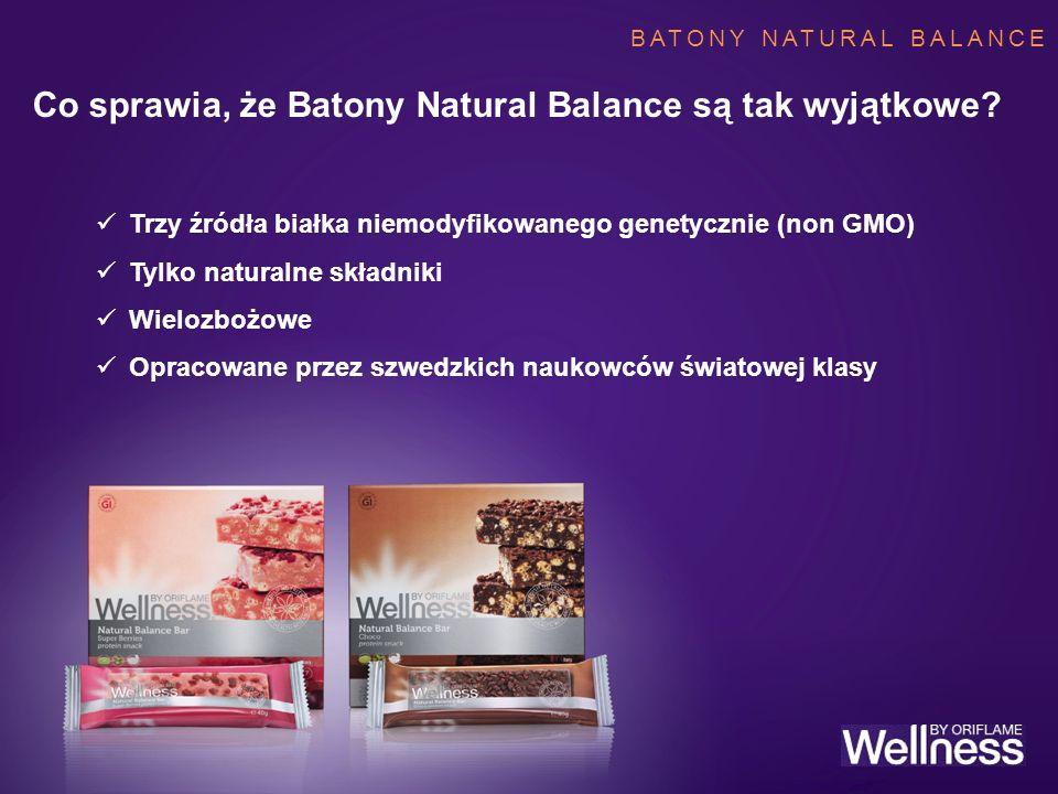 NATURAL BALANCE BARS Co sprawia, że Batony Natural Balance są tak wyjątkowe? Trzy źródła białka niemodyfikowanego genetycznie (non GMO) Tylko naturaln