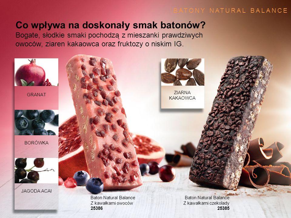 GRANAT BORÓWKA JAGODA ACAI ZIARNA KAKAOWCA Co wpływa na doskonały smak batonów? Bogate, słodkie smaki pochodzą z mieszanki prawdziwych owoców, ziaren