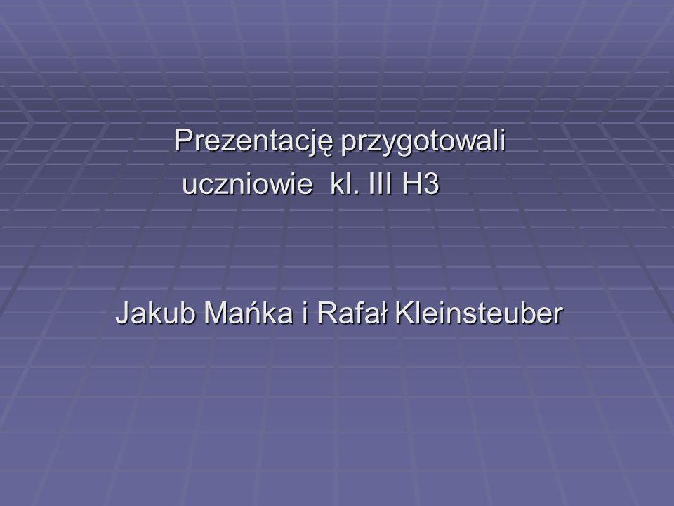 Prezentację przygotowali Prezentację przygotowali uczniowie kl. III H3 uczniowie kl. III H3 Jakub Mańka i Rafał Kleinsteuber Jakub Mańka i Rafał Klein