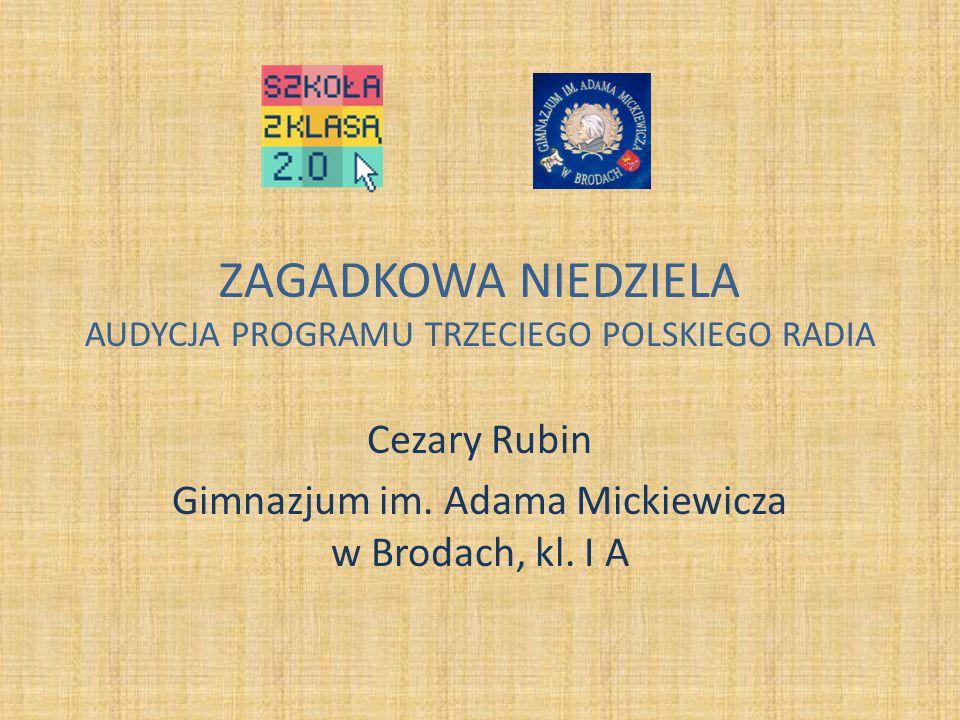 ZAGADKOWA NIEDZIELA AUDYCJA PROGRAMU TRZECIEGO POLSKIEGO RADIA Cezary Rubin Gimnazjum im.