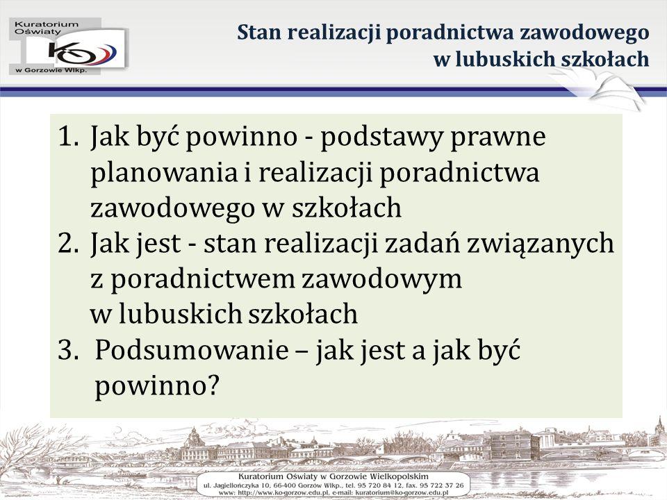 Stan realizacji poradnictwa zawodowego w lubuskich szkołach 1.Jak być powinno - podstawy prawne planowania i realizacji poradnictwa zawodowego w szkoł