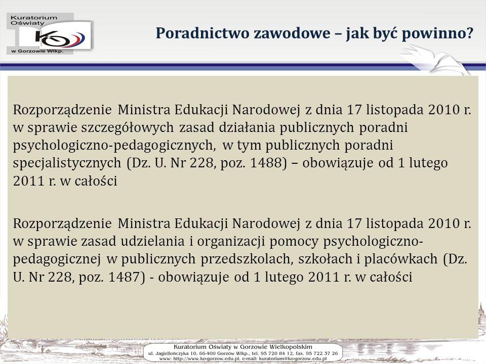 Poradnictwo zawodowe – jak być powinno? Rozporządzenie Ministra Edukacji Narodowej z dnia 17 listopada 2010 r. w sprawie szczegółowych zasad działania