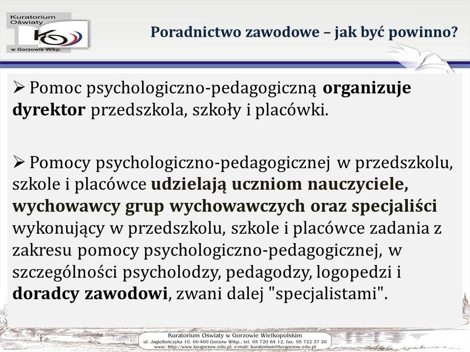 Poradnictwo zawodowe – jak być powinno? Pomoc psychologiczno-pedagogiczną organizuje dyrektor przedszkola, szkoły i placówki. Pomocy psychologiczno-pe