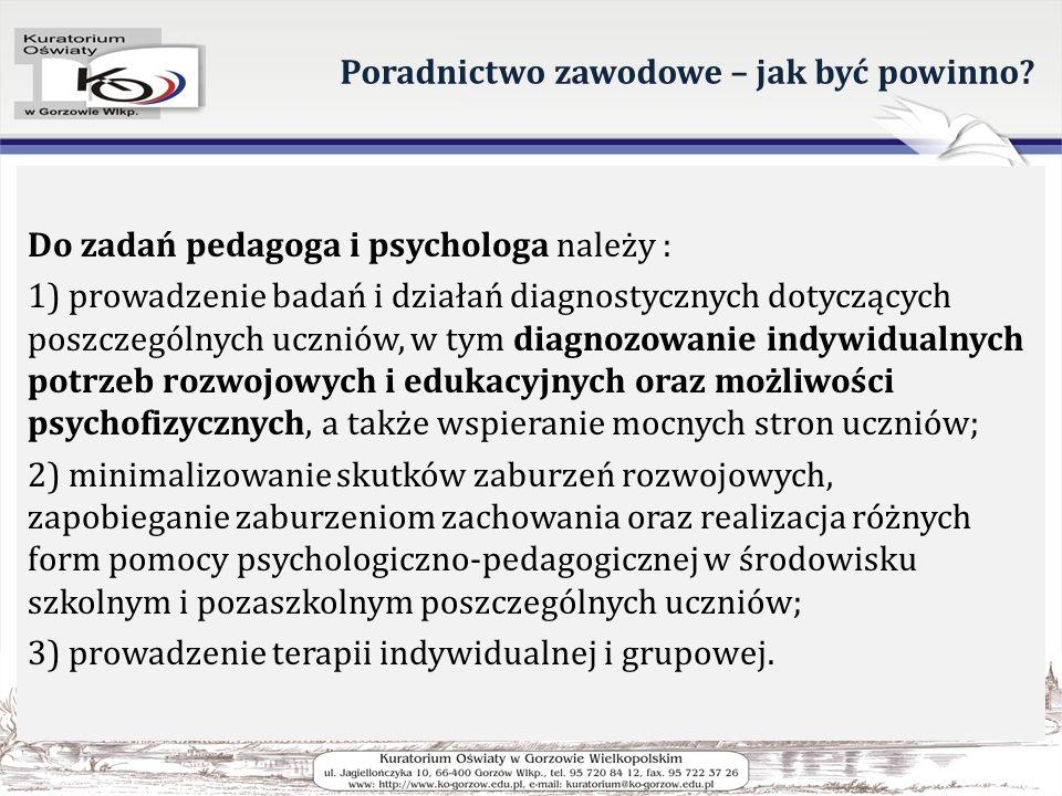 Poradnictwo zawodowe – jak być powinno? Do zadań pedagoga i psychologa należy : 1) prowadzenie badań i działań diagnostycznych dotyczących poszczególn