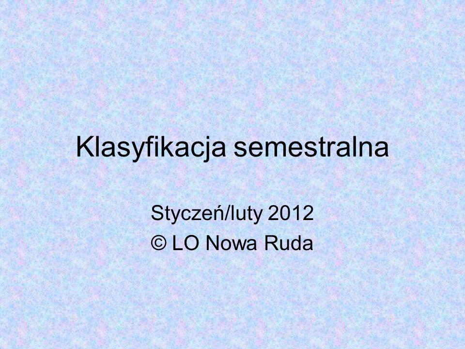 Klasyfikacja semestralna Styczeń/luty 2012 © LO Nowa Ruda