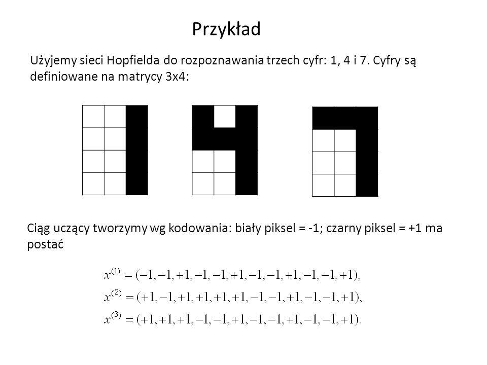 Przykład Użyjemy sieci Hopfielda do rozpoznawania trzech cyfr: 1, 4 i 7. Cyfry są definiowane na matrycy 3x4: Ciąg uczący tworzymy wg kodowania: biały