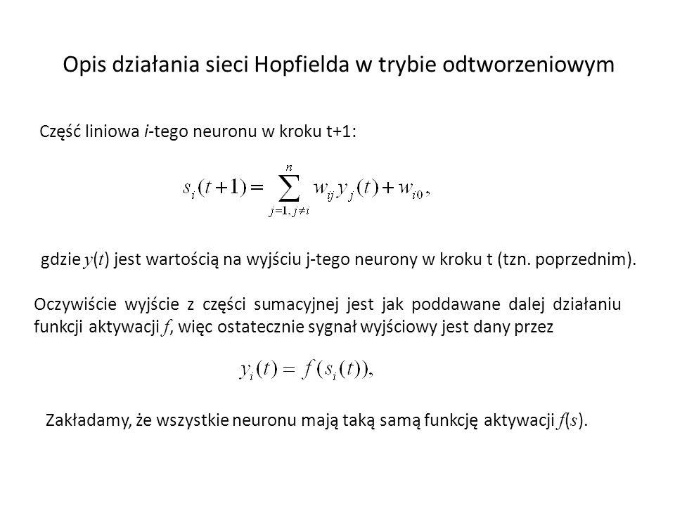 Opis działania sieci Hopfielda w trybie odtworzeniowym Część liniowa i-tego neuronu w kroku t+1: Oczywiście wyjście z części sumacyjnej jest jak podda
