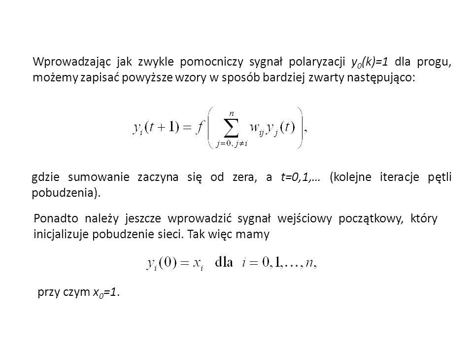 Wprowadzając jak zwykle pomocniczy sygnał polaryzacji y 0 (k)=1 dla progu, możemy zapisać powyższe wzory w sposób bardziej zwarty następująco: gdzie sumowanie zaczyna się od zera, a t=0,1,… (kolejne iteracje pętli pobudzenia).