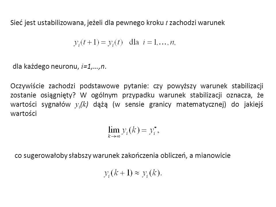 Sieć jest ustabilizowana, jeżeli dla pewnego kroku t zachodzi warunek dla każdego neuronu, i =1,…,n.