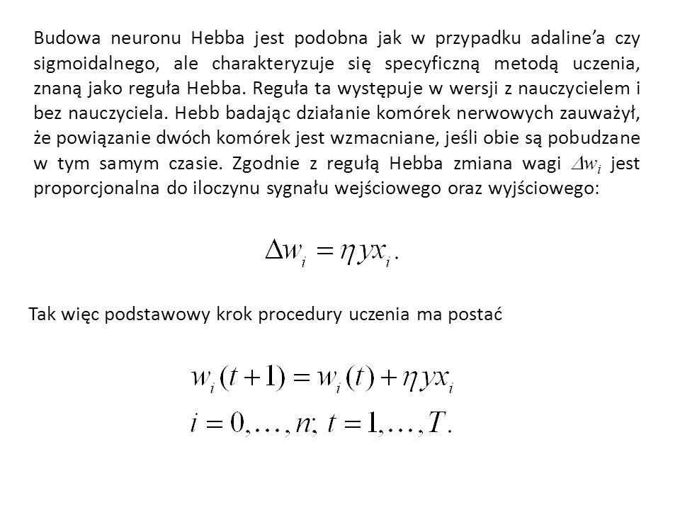 Budowa neuronu Hebba jest podobna jak w przypadku adalinea czy sigmoidalnego, ale charakteryzuje się specyficzną metodą uczenia, znaną jako reguła Hebba.