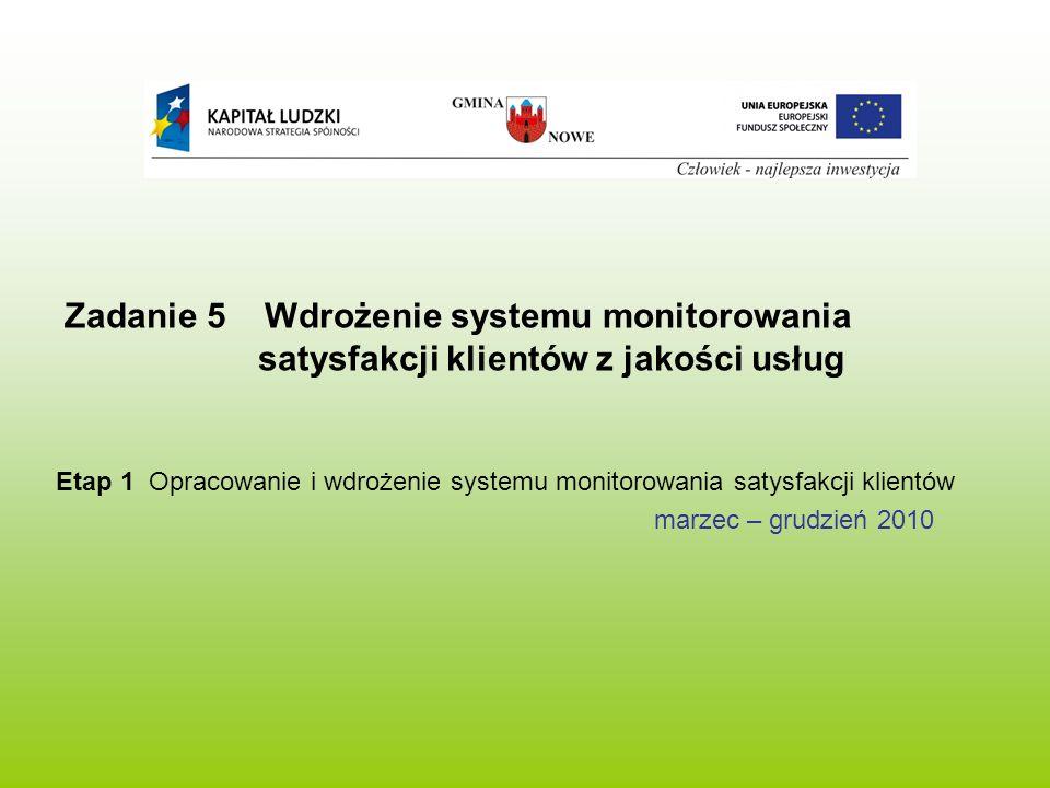 Zadanie 5 Wdrożenie systemu monitorowania satysfakcji klientów z jakości usług Etap 1 Opracowanie i wdrożenie systemu monitorowania satysfakcji klientów marzec – grudzień 2010
