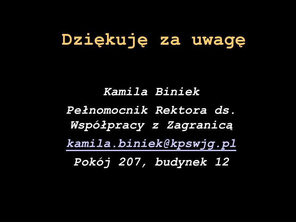 Kamila Biniek Pełnomocnik Rektora ds. Współpracy z Zagranicą kamila.biniek@kpswjg.pl Pokój 207, budynek 12 Dziękuję za uwagę