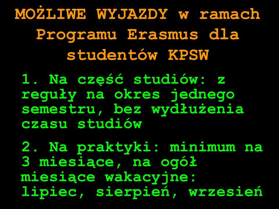 MOŻLIWE WYJAZDY w ramach Programu Erasmus dla studentów KPSW 1. Na część studiów: z reguły na okres jednego semestru, bez wydłużenia czasu studiów 2.