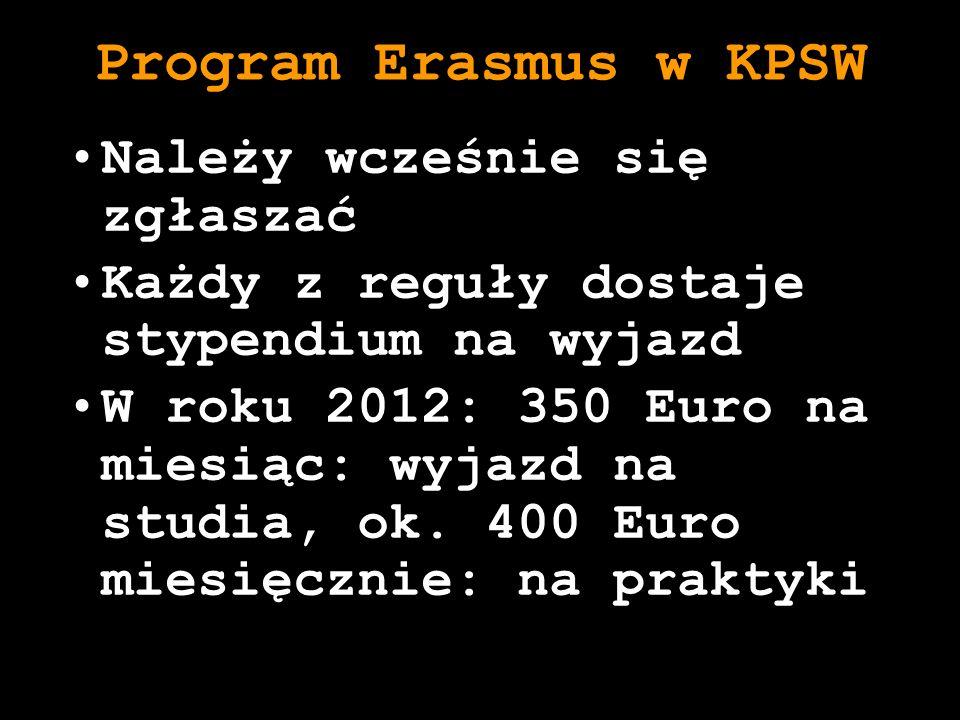 Program Erasmus w KPSW Należy wcześnie się zgłaszać Każdy z reguły dostaje stypendium na wyjazd W roku 2012: 350 Euro na miesiąc: wyjazd na studia, ok