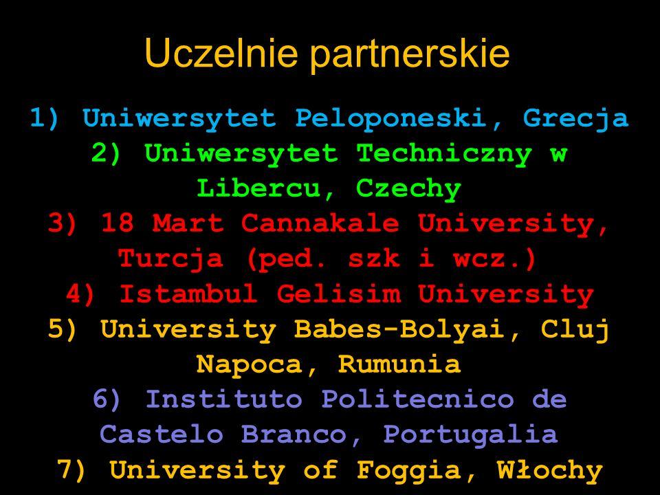 Uczelnie partnerskie wyjazd 1) Uniwersytet Peloponeski, Grecja 2) Uniwersytet Techniczny w Libercu, Czechy 3) 18 Mart Cannakale University, Turcja (pe