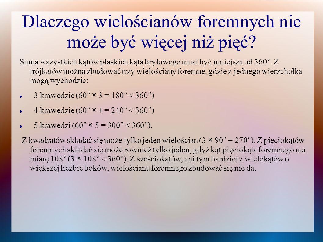 Trochę historii wielościanów foremnych Wielościany foremne znali już Pitagorejczycy w VI w.