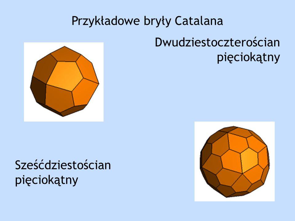 Przykładowe bryły Catalana Dwudziestoczterościan pięciokątny Sześćdziestościan pięciokątny