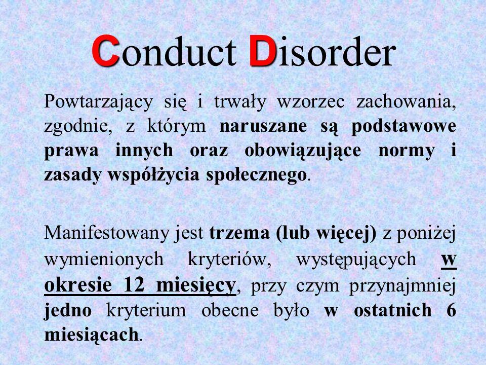 CD C onduct D isorder Powtarzający się i trwały wzorzec zachowania, zgodnie, z którym naruszane są podstawowe prawa innych oraz obowiązujące normy i z