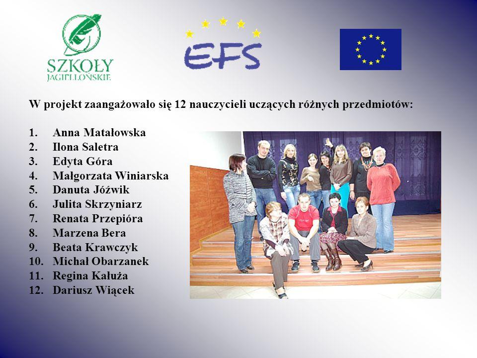 W projekt zaangażowało się 12 nauczycieli uczących różnych przedmiotów: 1.Anna Matałowska 2.Ilona Saletra 3.Edyta Góra 4.Małgorzata Winiarska 5.Danuta
