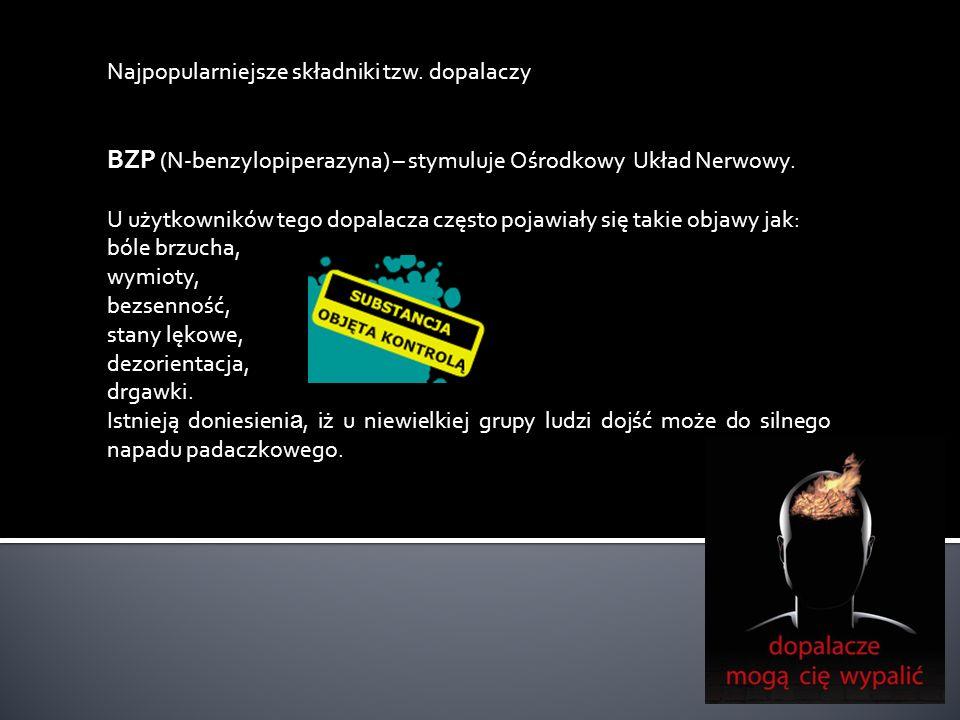 Najpopularniejsze składniki tzw. dopalaczy BZP (N-benzylopiperazyna) – stymuluje Ośrodkowy Układ Nerwowy. U użytkowników tego dopalacza często pojawia