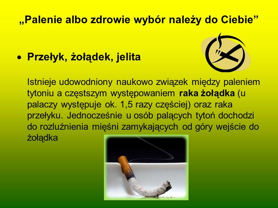 Palenie albo zdrowie wybór należy do Ciebie Przełyk, żołądek, jelita Istnieje udowodniony naukowo związek między paleniem tytoniu a częstszym występow