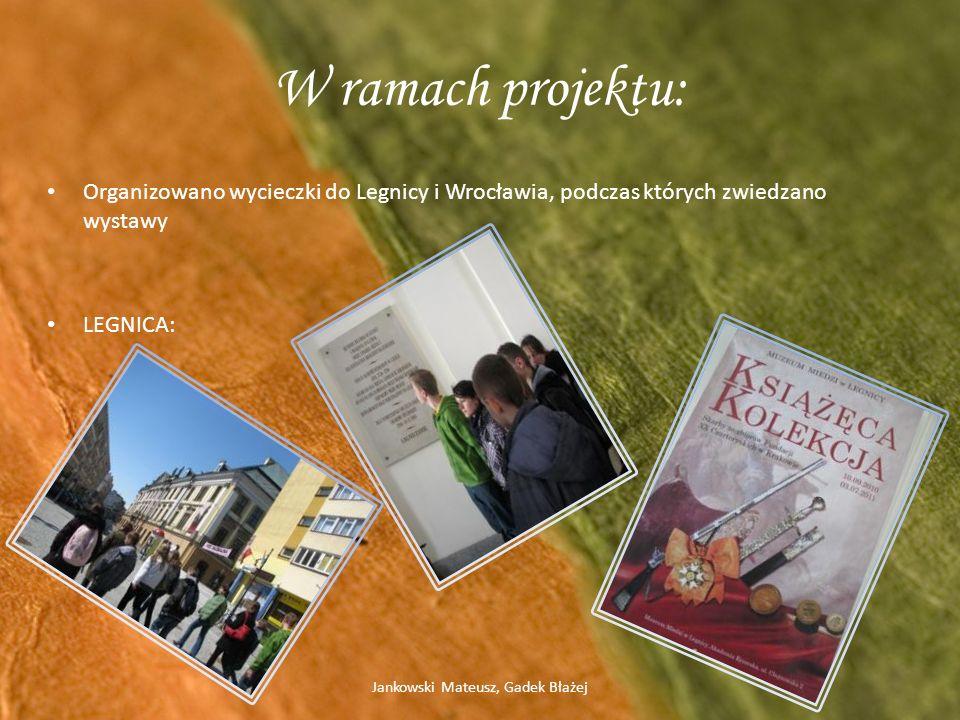 W ramach projektu: Organizowano wycieczki do Legnicy i Wrocławia, podczas których zwiedzano wystawy LEGNICA: Jankowski Mateusz, Gadek Błażej